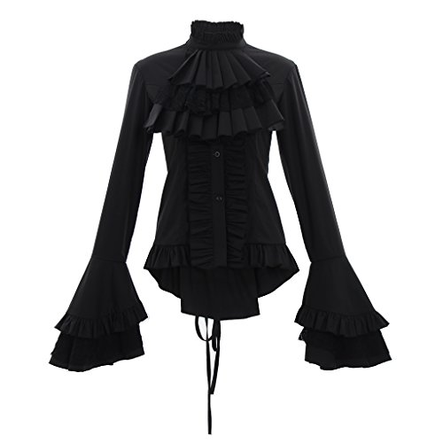 Era Vintage Blouse (CosplayDiy Women's Stand-Up Detachable Collar Vintage Victorian Flared Lolita Blouse Shirts Black L)