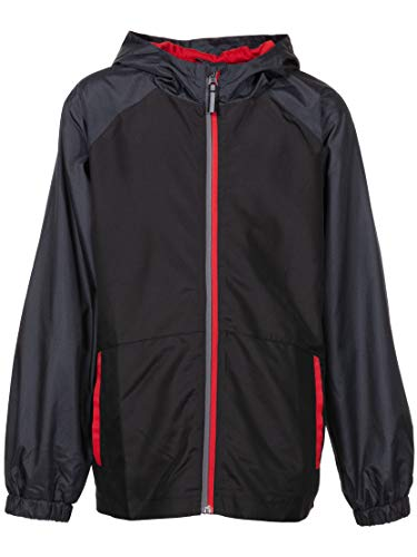 Arctic Quest Children's Colorblock Windbreaker Jacket with Jersey Lining & Hood, Black/Red, -