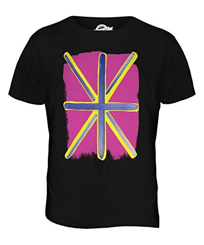 (CandyMix Men's Pop Art Great Britain Union Jack Flag T Shirt T-Shirt Top, Size 5X-Large, Color Black)