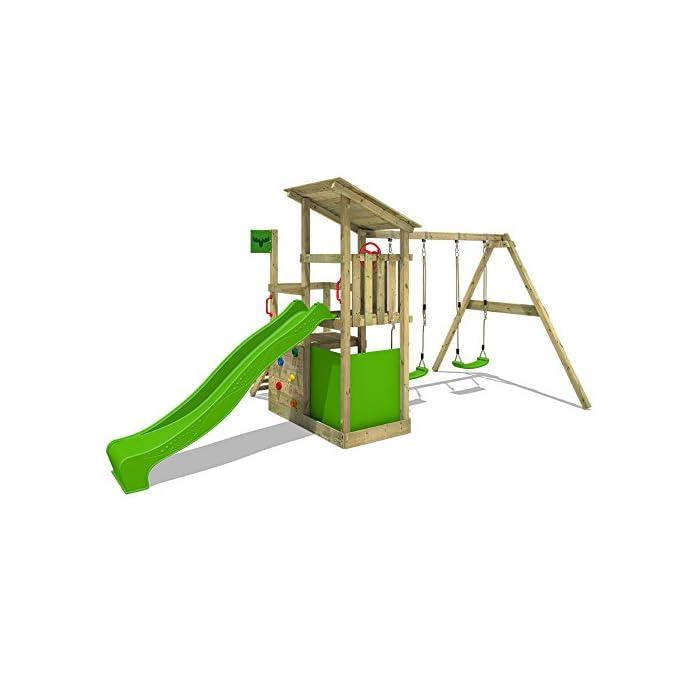 41Kt84Gq rL XXL Torre de escalada con 3 niveles para su jardín con XXL cajón de arena - Calidad y seguridad verificadas Madera maciza impregnada a presión - Viga de columpio de 9x9cm, postes verticales de 7x7cm - Made in Germany 10 años de garantía* para todos los elementos de madera - Instrucciones de montaje detalladas para un montaje fáci