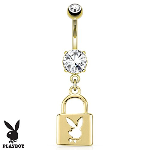 (Dynamique Lock with Playboy Bunny Die-Cut Dangle 14Kt Gold Plated Belly Button Ring)