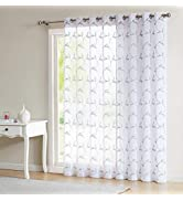 LinenZone - Maria - Embroidered Semi Sheer Curtains with Grommets - 1 Extra Wide Patio Curtain Pa...