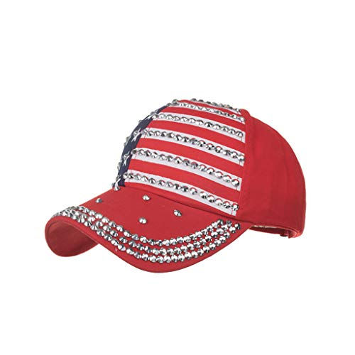 Zlolia Women's Patchwork Studded Rhinestone Flag Baseball Cap Independence Day Cotton Soft Outdoor Top Level Dad-Hat
