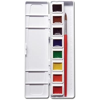 Prang Half Pan Watercolor Set with Brush, 8 Assorted Colors (08000)