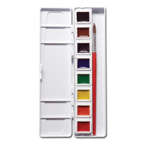 Prang Half Pan Watercolor Set with Brush, 8 Assorted Colors (08000)