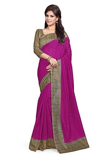 Mirchi Fashion Women's Art Silk Casual Latest Indian Saree Magenta,Beige