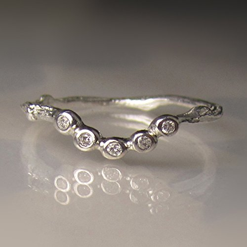 Diamond Contour Twig Wedding Band in Sterling Silver