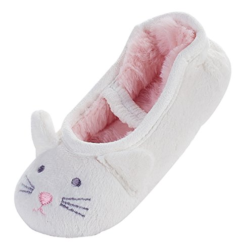 LA PLAGE Girl's Comfy Soft Cute Cat Upper Ballerina Slippers (Toddler)