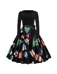 FarJing Women's Dress Long Sleeve Christmas Vintage Print Evening Party Dress
