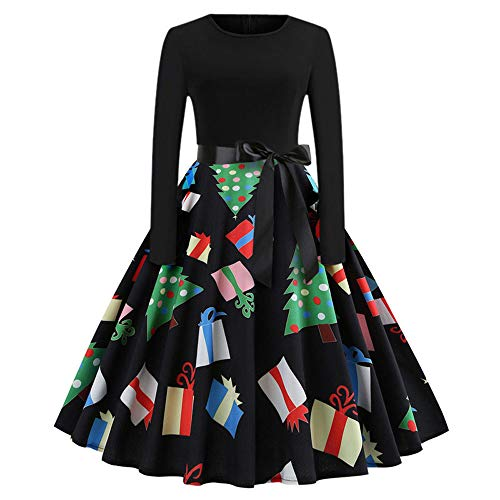 Mysky Merry Christmas Women Vintage Print Evening Party Swing Dress Ladies Classic A-Line Pleated Dress -