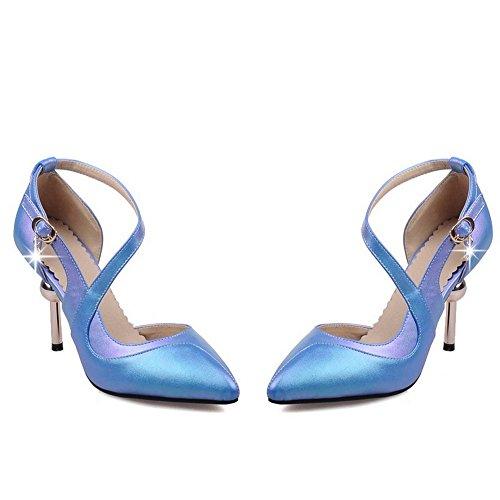 Amoonyfashion Femmes Boucle Haute Talons Pu Solide Fermé Orteils Pompes-chaussures Bleu