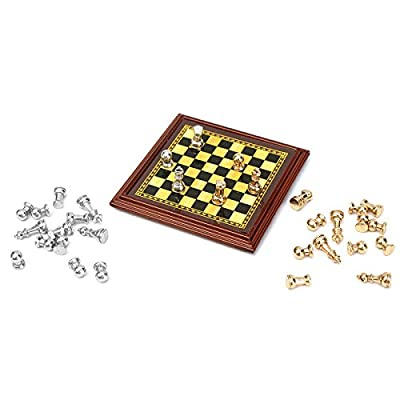 HITSAN 1:12 Scale Dollhouse Miniature Metal Chess Set Board Toys Home Room Ornaments One Piece