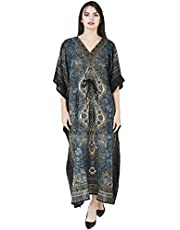 فستان حريمي طويل من SKAVIJ طويل برقبة على شكل حرف V من نسيج فسكوز، (مقاس مجاني)