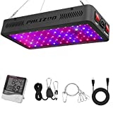 Phlizon 600W LED Plant Grow Light,with Thermometer Humidity Monitor,with Adjustable Rope,Full Spectrum Double