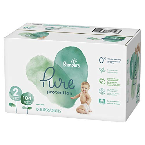 Diapers Size 2, 104 Count - Pampers Pure Disposable Baby Diapers, Hypoallergenic and Fragrance Free Protection, Giant
