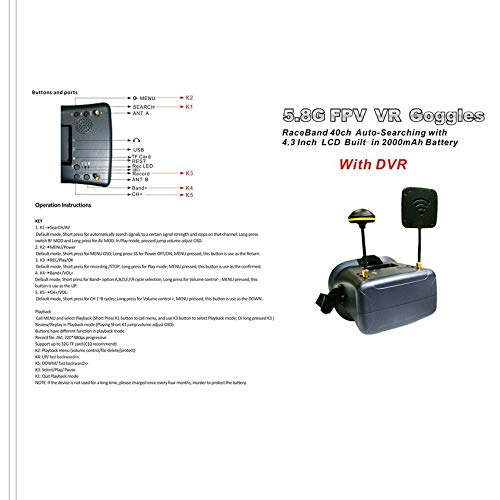 Wikiwand LS-008D 5.8G FPV Googles 40CH with 2000mA Battery DVR Diversity for RC Model by Wikiwand (Image #5)