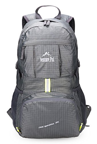 Price comparison product image Venture Pal Lightweight Packable Durable Travel Hiking Backpack Daypack (Grey)