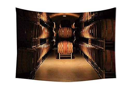 LZHsunni88 Winery Decor Tapestry Wine Barrel Stacked in Cellar Aged Old Fermenting Quality Container Storage Basement Image Bedroom Living Room Dorm Decor Brown