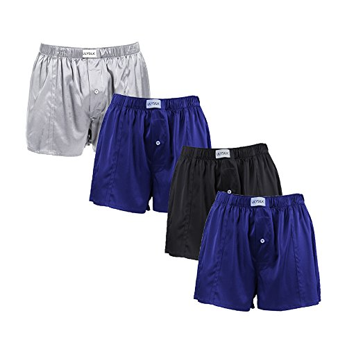 LilySilk 4 Pack Silk Boxer Briefs for Men Pure Mulberry Fitted Draping Button Fly Solid Comfort Sleep Shorts (XL, Black+Blue+Grey+Blue) by LilySilk