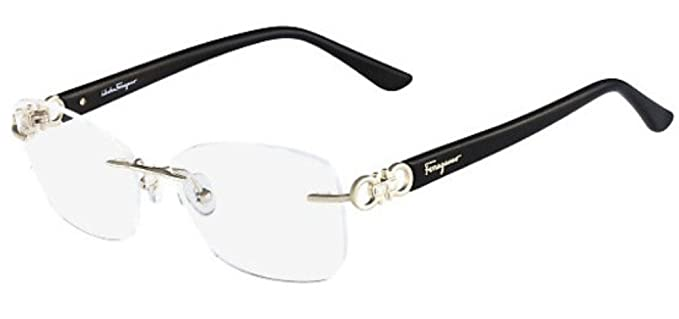 f9449a4bd77df Amazon.com  Salvatore Ferragamo SF2140R Eyeglasses 717 Shiny Gold 54 mm   Clothing