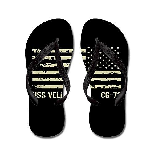 CafePress USS Vella Gulf - Flip Flops, Funny Thong Sandals, Beach Sandals Black