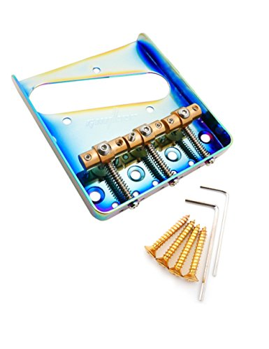 Guyker WTB Ashtray Bridge for Tele TL Guitars, with Brass Staggered Saddles Replacement Part 6 String Fender Compensated Guitar(Chameleon Rainbow) - Guitar Style Tele