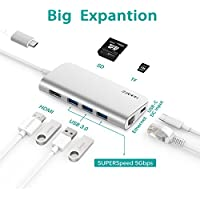 ANYQOO 8 in 1 Portable USB-C Hub with Type-C Port, Gigabit Ethernet, HDMI Output, SD/TF Card Slot, 3 USB 3.0 Ports for MacBook Pro, Google Chromebook, iMac 2017 and More (Silver)