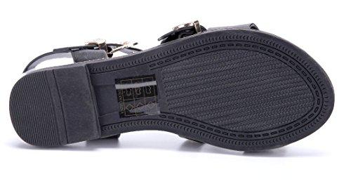 Schuhtempel24 Damen Schuhe Sandalen Sandaletten Flach Nieten Schwarz