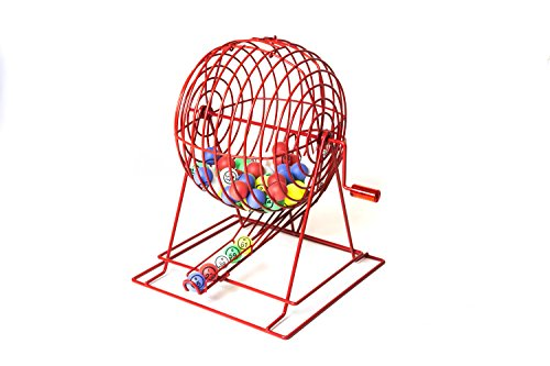 Official Professional-Use Extra Large Red Plastic Coated Bingo Cage Set w/Ping Pong Bingo Balls, 19'' High by Mr. Chips, Inc by Mr. Chips (Image #1)