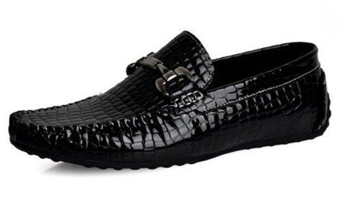 Happyshop (tm) Mens In Vera Pelle Ape Fibbia Mocassino Mocassini Driving Shoes Slip-on Penny Mocassini Nero