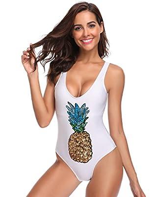SoarDream Women's Sequin Inspired High Cut Low Back One Piece Swimwear Bathing Suit