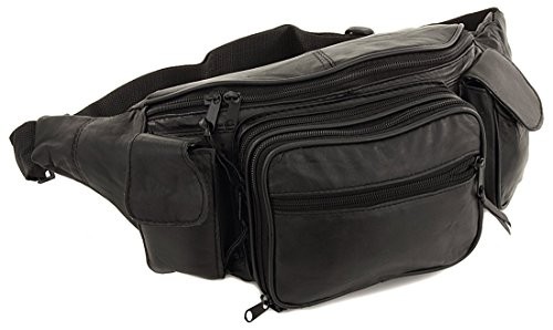 Roma Leathers New Large 8 Pocket Genuine Leather Waist Hip Lumbar Fanny Fannie Pack Bag Black with Dual Cell Phone Pockets and Dual Organizer (7089-BLK)