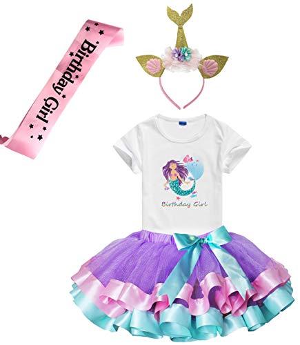 Girls Birthday Tutu Skirts Dress with Mermaid Birthday Girl Tshirt, Headband, Satin Sash (Lavender, 3-4 Years) ()