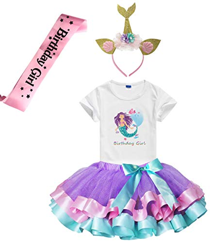(Girls Birthday Tutu Skirts Dress with Mermaid Birthday Girl Tshirt, Headband, Satin Sash (Lavender, 3-4)