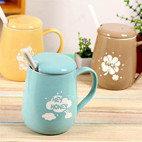 (Ice Cream Clover Sandblasted Ceramic Cup with Cover Spoon Milk Cup Fashion Mug)