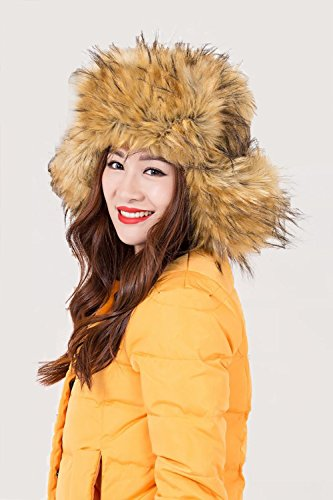 """Dikoaina Faux Fur Snow Trapper Hat with Ear Flap for Skiing Head Circumference 22""""-22.8"""" (yellow)"""