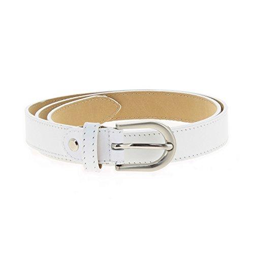 White Belt Genuine (FASHIONGEN - Women genuine Italian leather belt LUNA for thousers, jeans - White, 95 cm / 37.40 in)