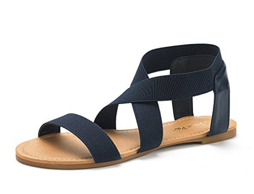 (DREAM PAIRS Women's Elatica-6 Navy Elastic Ankle Strap Flat Sandals - 7 M US)