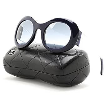 Amazon.com: Chanel 5265 Round Sunglasses 1446/S2 Dark Blue