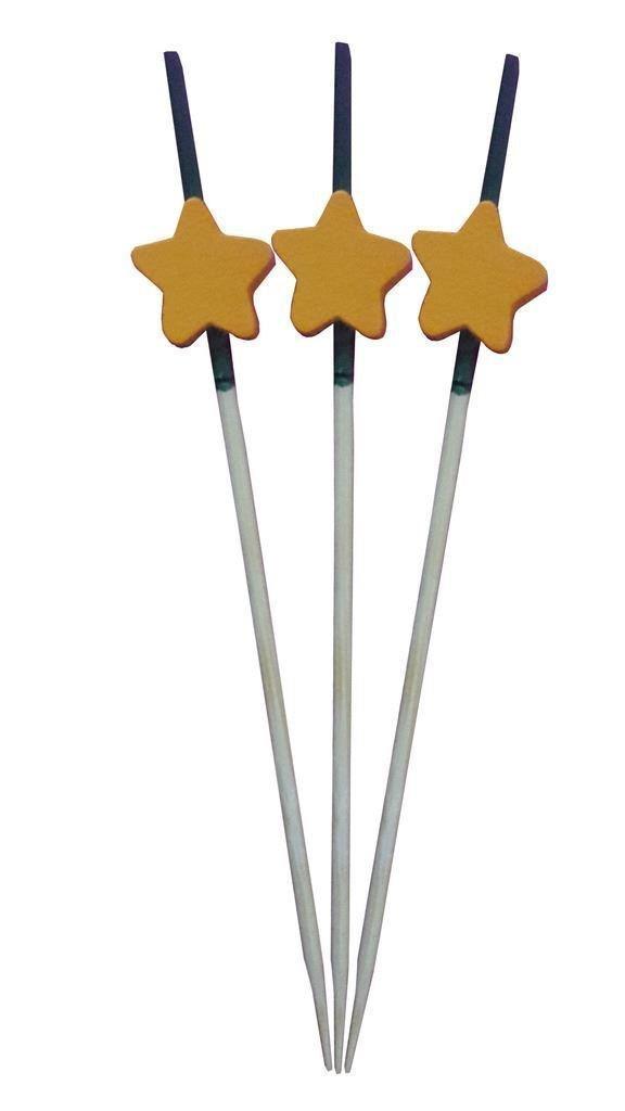 kraftz® 100Stück 9cm Holz Einweg Zahnstocher mit Orange Star