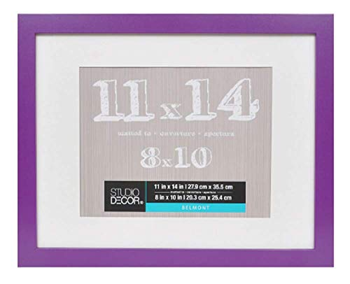 11 x 14 Picture Frame Colored Photo Frames - Displays 8x10 with Mat or 11x14 W/O Mat - Wall Mounting Material Included ...Children's Art Frame (Violet) (Pictures Purple)