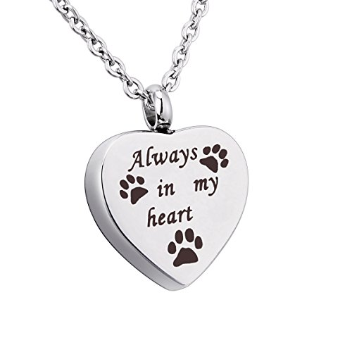 (SG Free Engraved Always in My Heart Pet Paw Urn Pendant Necklace Dog/Cat Funeral Ashes Keepsake Casket)