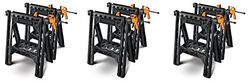 WORX Clamping Sawhorse Pair with Bar Clamps, Built-in Shelf and Cord Hooks – WX065 (3-(Pack))