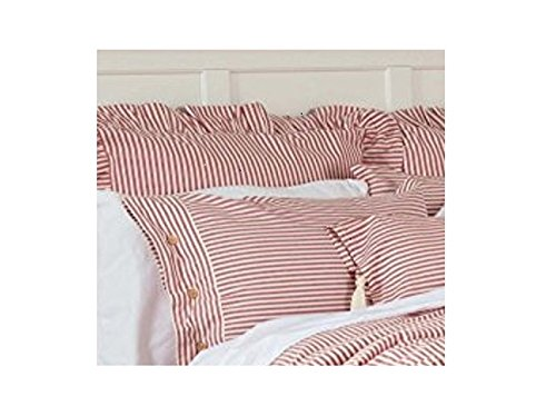 Piper Classics Farmhouse Ticking Stripe Duvet Cover Bedding, Red & Off-White, King 92x108, Comforter Cover w/Twill Ties, Soft, Comfortable, Farmhouse Bedroom Décor