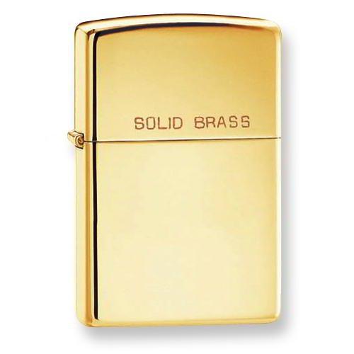 ZIPPO High Polish Brass Solid Brass Zippo (Solid Brass High Polish)
