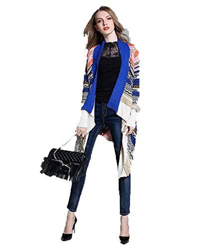 Casual Stampate A Outerwear Giovane Irregular Giacca Autunno Maglia Donna Blau Di Giaccone Abbigliamento Pattern Elasticità Lunga Manica Moda Pullover 6qdw0ZTd