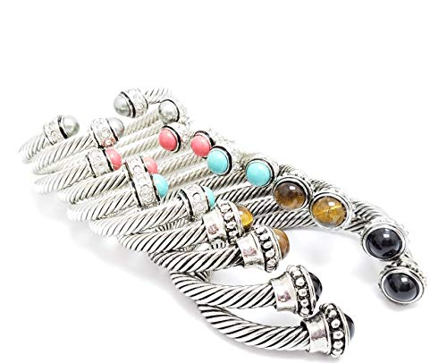 David Yurman style semi precious stone pearl twisted Cable Classics Bracelet Charm Bangle Expandable Stainless Steel Bracelet wire Bracelet, Mothers day, Gold Silver SAME DAY SHIPPING