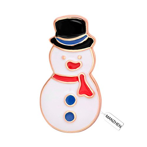 - MANZHEN Scarf White Snowman Lapel Brooch Pin Winter Fashion Jewelry(Black-rose gold)