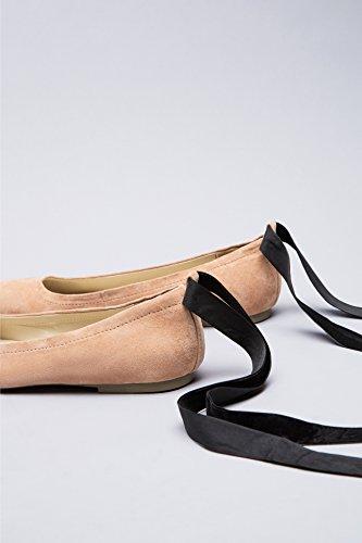 Kvinners Finne Skinn Semsket rosa Bånd Ballett Med Leiligheter Ankel I Rosa Strap pdrqdTXw