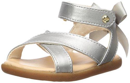 UGG Girls I Maggiepie Shimmer Flat Sandal, Silver, 2-3 M US Infant ()